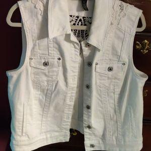 Inc lace back denim vest